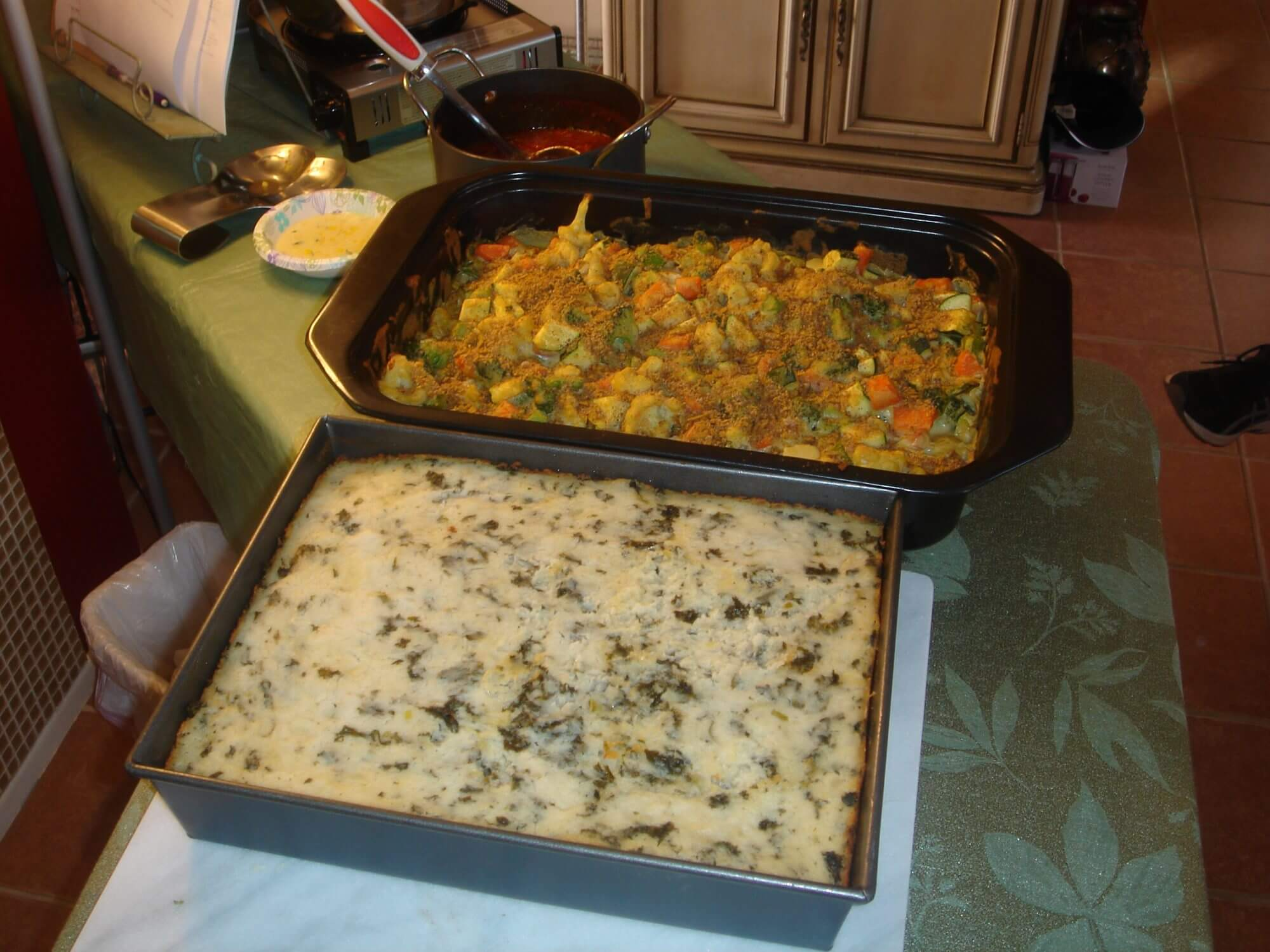Cheesey Vegetable Casserole and Smokey Kale-Potatoes